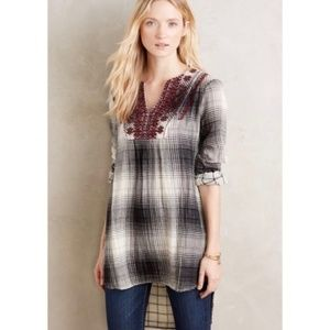 Anthropologie : Floreat Embroidered Flannel Tunic